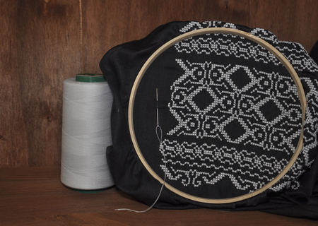 needlecraft product: hand embroidery patterns cross wooden hoop