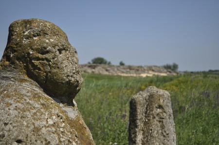mystic place: Steppe Scythian stone figure, Ukraine, Zaporizhia region, the complex Stone Grave