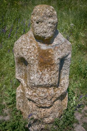 mystic place: stone statue of a complex of stone tomb (Ukraine, Zaporizhia region)