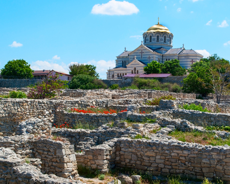 building Vladimir Cathedral Chersonese Tavricheskiy, Crimea Ukraine, summer day