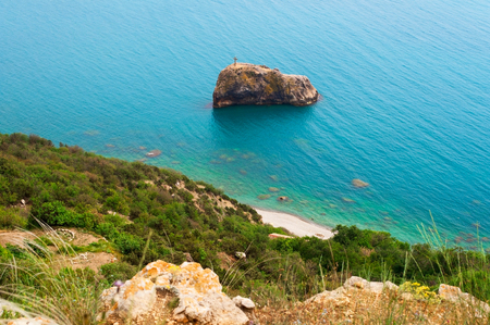 view of the rock named after St. George in the Black Sea, Cape Fiolent Ukraine Kherson