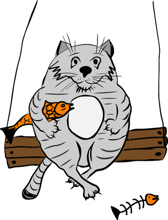 a thick gray cat sitting on a wooden swing with a fish, isolated on a white background Standard-Bild - 93045878