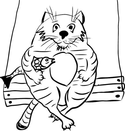 Fette Katze mit Fischen unter seinem Arm, der auf einer Schaukel lokalisiert auf weißem Hintergrund, Karikaturart sitzt Standard-Bild - 93045879