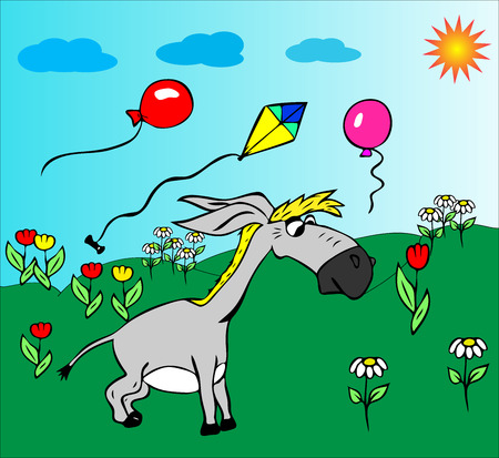 Cheerful little gray donkey walks on a green meadow in the middle of flowers and flying balls. Funny cartoon character.