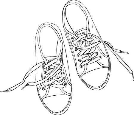 a pair of mens hand-painted sneakers, a contour pattern, a top view