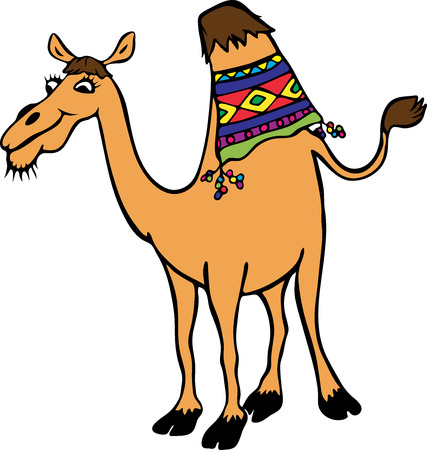 yellow funny camel with one hump, cartoon character isolated on white background