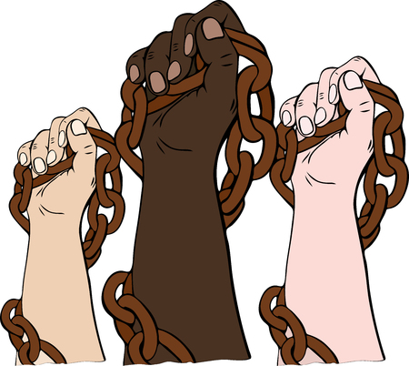 the hands of different races hold the iron chain and are raised upwards, hands are clenched into a fist and together they show solidarity struggle
