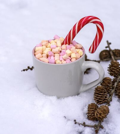 gray ceramic cup with hot chocolate and marshmallows on white snow, top view