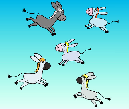 little gray donkey children on a blue background, funny cartoon characters Illustration