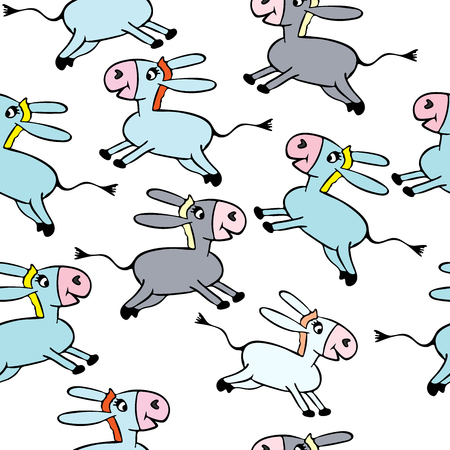 little gray and blue donkeys  on a white background, funny cartoon characters, seamless pattern