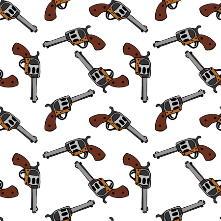 Steel revolver with a brown handle. Seamless pattern isolated on a white background