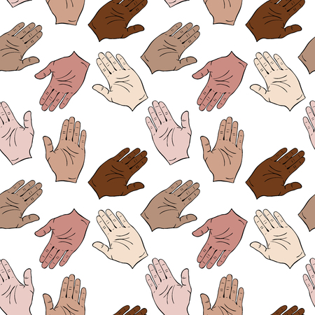 Palms of different skin colors are drawn to each other. Seamless pattern isolated on white background