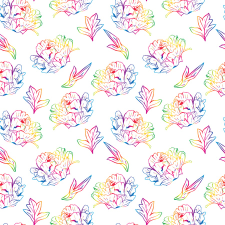 blossoming peony with leafs, seamless pattern isolated on white background Stock Photo