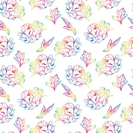Blossoming peony with leafs, seamless pattern isolated on white background. Illustration