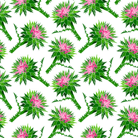 bud of prickly burdock with green stalk isolated on white background, seamless pattern