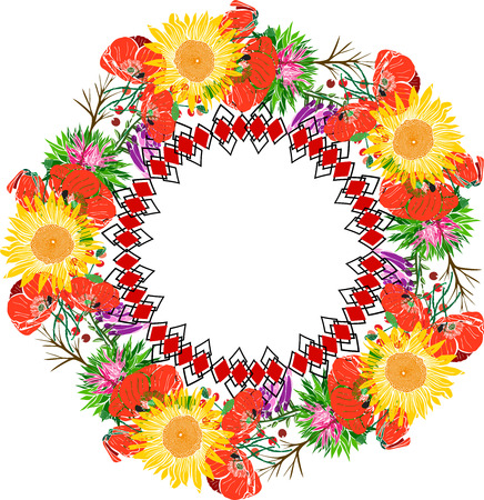 Wreath of sunflower and red flowering poppies and wildflowers, geometric pattern, isolated on white background, empty space in the middle 向量圖像