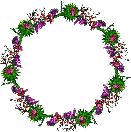 Painted wreath of burdock flowers, mouse peas and branches with berries isolated on white background, empty space in the middle