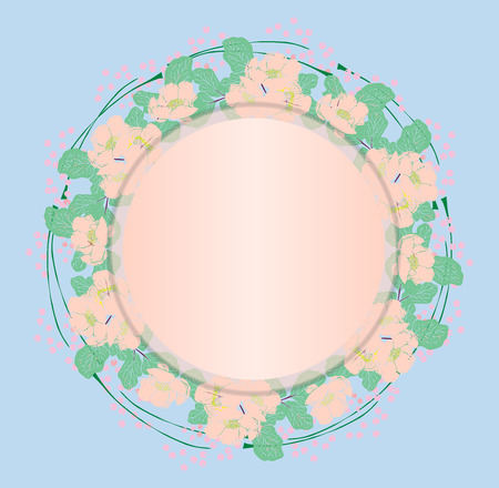 a wreath of gently pink peonies and green leaves, an empty space in the middle, a blue background