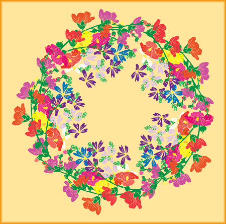 A wreath of flowering branches with pink, red and yellow buds of mallow and blue small flowers on a yellow background.
