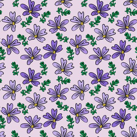 Purple flower and green twig on light lilac background, seamless pattern. 일러스트