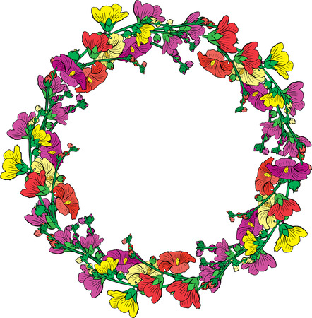Round wreath of flowering branches with pink, red and yellow buds mallow isolated on white background.
