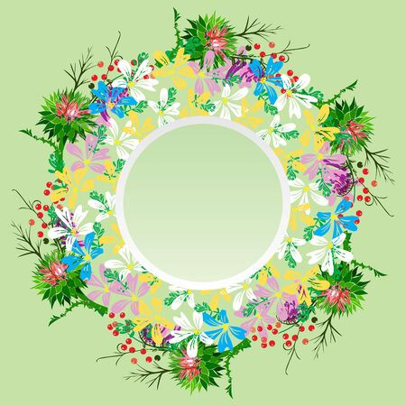 Round wreath of field flowers of chamomiles, twigs, burdock and red berries, empty space in the middle, green background.