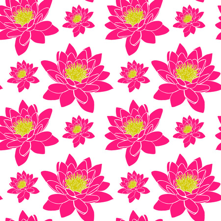Blooming pink water lily with yellow stamens, seamless pattern isolated on white background.
