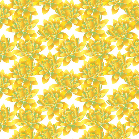 Yellow flowers on white background seamless pattern.