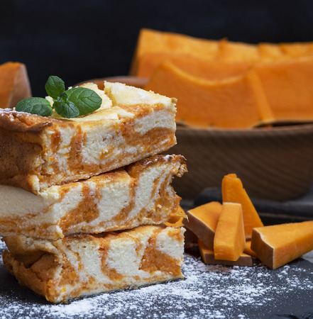 square pieces of baked cheesecake cottage cheese with pumpkin and fresh pieces of vegetable Stok Fotoğraf