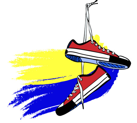 pair of red sports sneakers of hand-drawn hang on long laces. yellow blue background