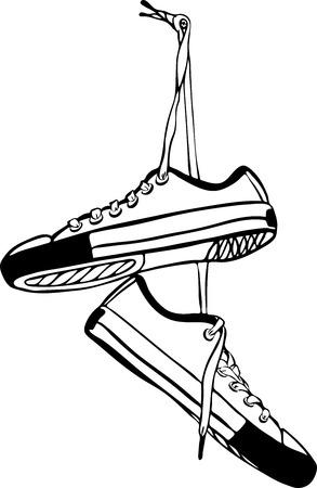 Paar sportliche Turnschuhe von Hand gezeichnet hängen an langen Schnürsenkeln. Schwarze Umrisszeichnung