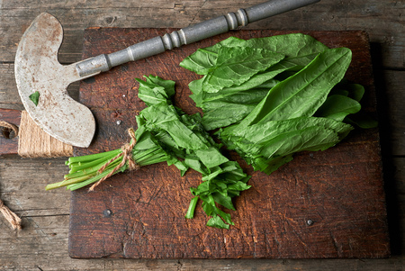 chopped green sorrel leaves on an old brown wooden board and an old iron metal knife, top view 写真素材