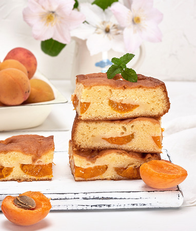 baked square pieces of cake sponges with fresh apricots on a white wooden board, white background