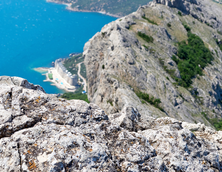 View from the top of the mountain Ilyas-Kaya on the sea and the city of Laspi, Crimea, Ukraine, summer sunny day