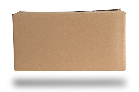 closed brown rectangular box of cardboard on a white background, packaging for goods Stock Photo