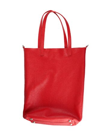 rectangular red women's leather bag with handles isolated on white background
