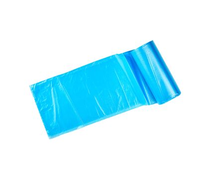 twisted blue plastic bags for bin isolated on white background