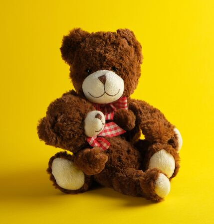 two brown teddy bears on a yellow background, family concept