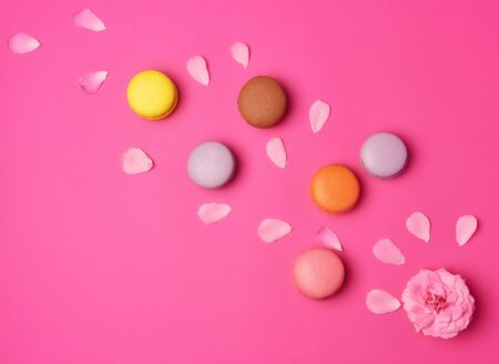 multi-colored macaroons with cream and a pink rose bud with scattered petals on a pink background, top view, flat lay