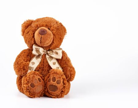 brown teddy bear with a bow on his neck, white background, copy space