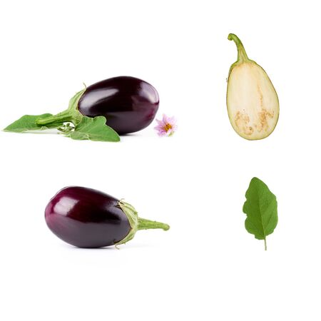 whole eggplant vegetable set, half and green leaves on a white background, autumn harvest