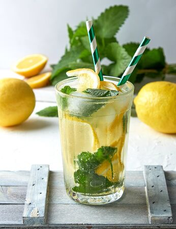 summer refreshing drink lemonade with lemons, mint leaves, lime in a glass, next to the ingredients for making a cocktail Standard-Bild - 129453008