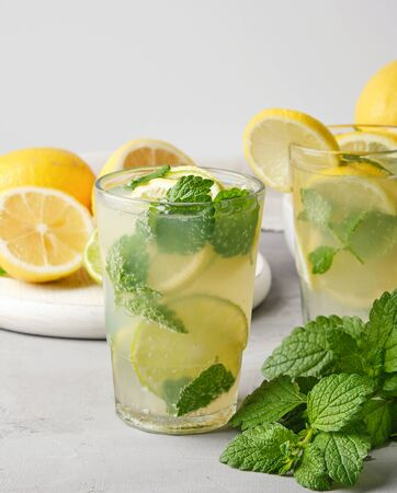 refreshing drink lemonade with lemons, mint leaves, lime in a glass, next to the ingredients for making a cocktail Standard-Bild - 129453344
