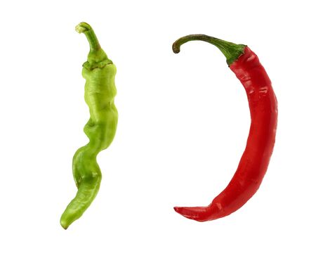 red and green chili peppers isolated on a white background, close up