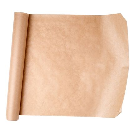 expanded brown paper roll isolated on a white background, copy space
