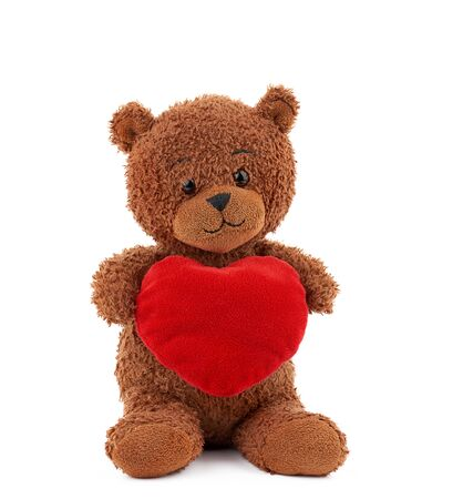 cute brown teddy bear holding a big red heart and sits on an isolated white background, holiday gift for Valentine's Day
