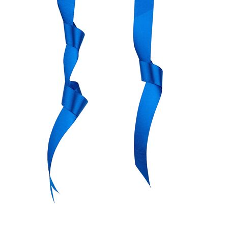 dark blue silk ribbon hanging with a knotted and isolated on a white background, element for the designer 免版税图像