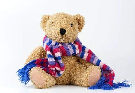 cute brown teddy bear in a colored knitted scarf sitting on a white background, close up