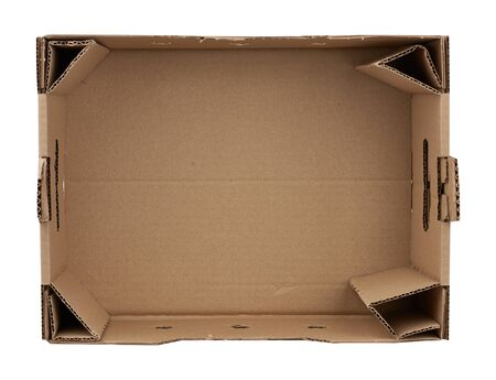 rectangular empty cardboard box of brown paper on a white background, box without a lid for vegetables and fruits in with holes Stock fotó