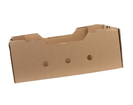 rectangular empty cardboard box of brown paper on a white background, box without a lid for vegetables and fruits in with holes Stock fotó - 138368189